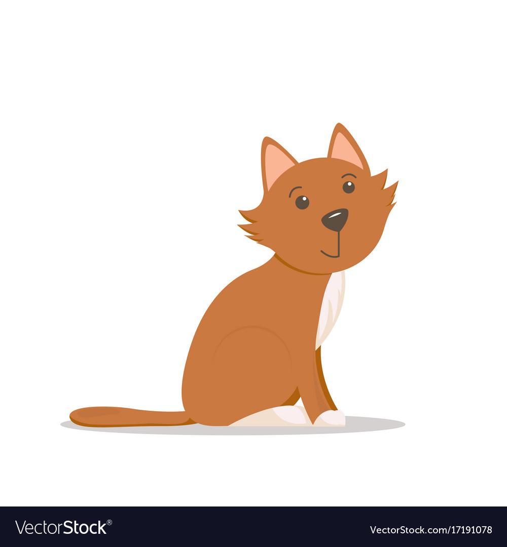 Cute sitting cat kitten cartoon