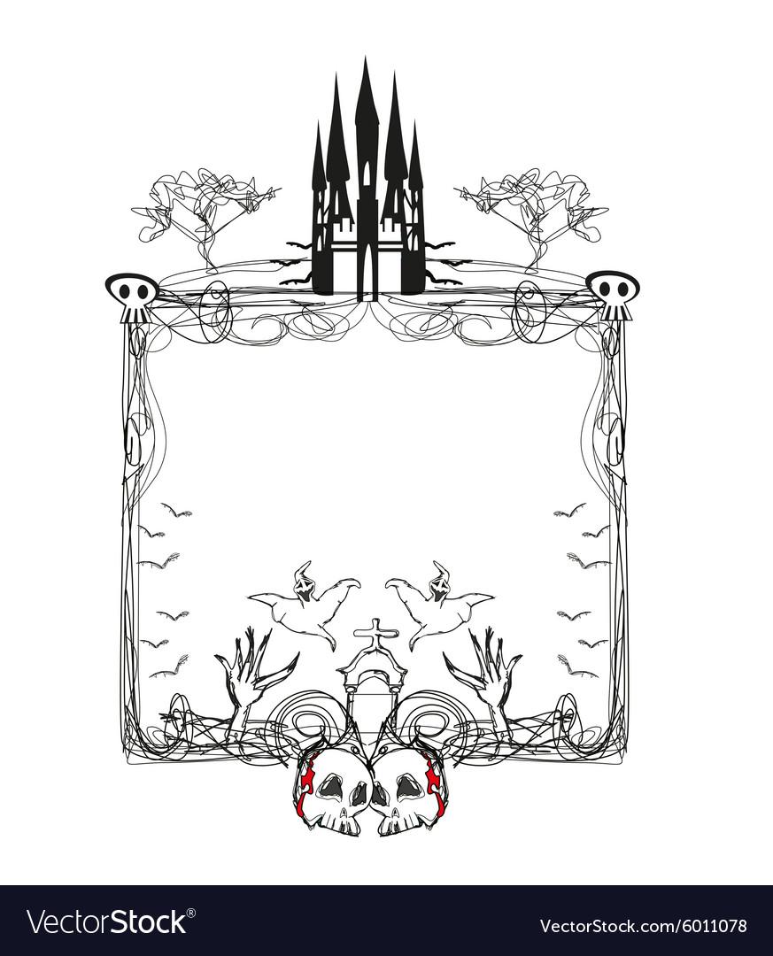 Doodle frame Halloween bones bats and skulls