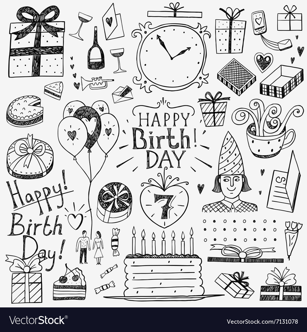 Happy birthday doodles set Royalty Free Vector Image