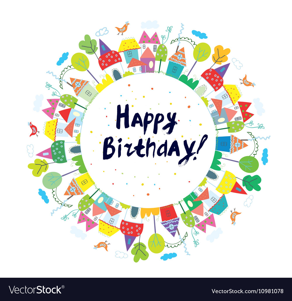 Happy birthday funny card for kids with town vector image m4hsunfo