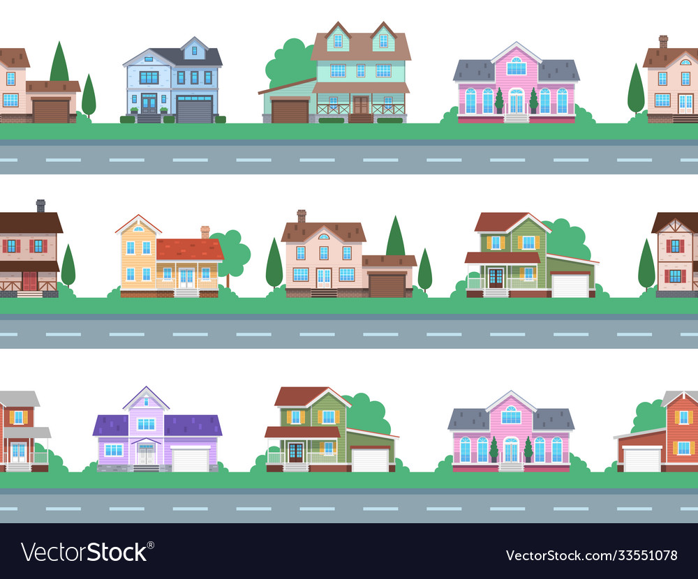 Houses on road home facades cottage or