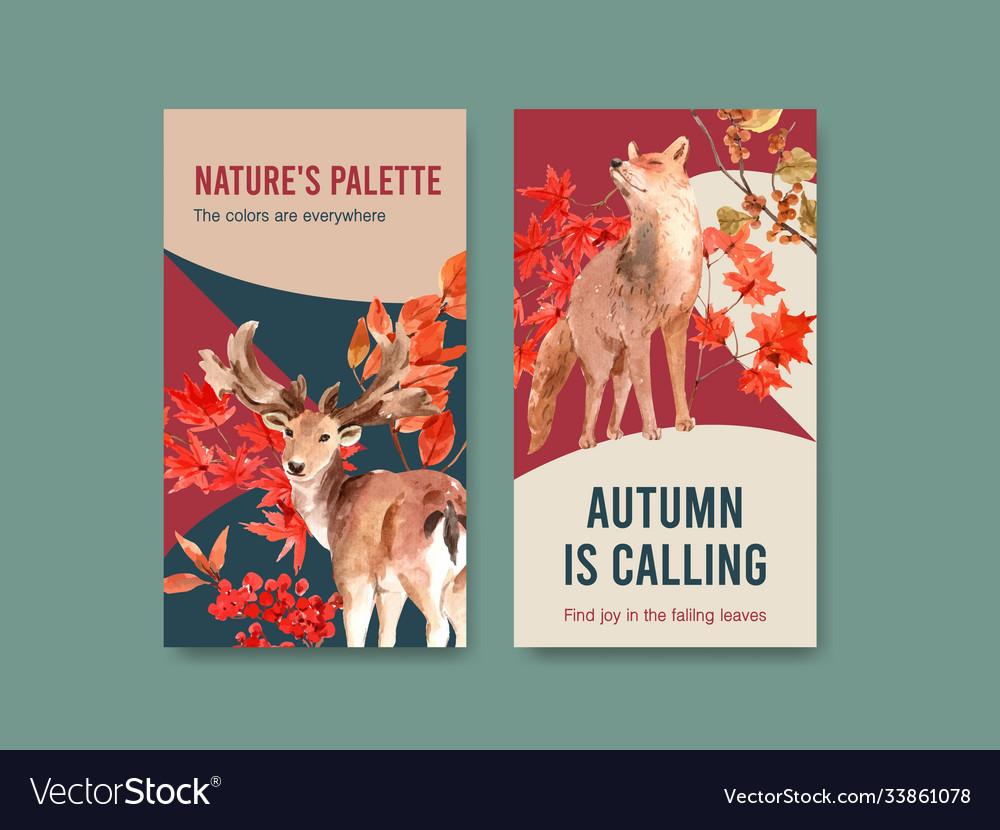 Instagram template with autumn forest and animals