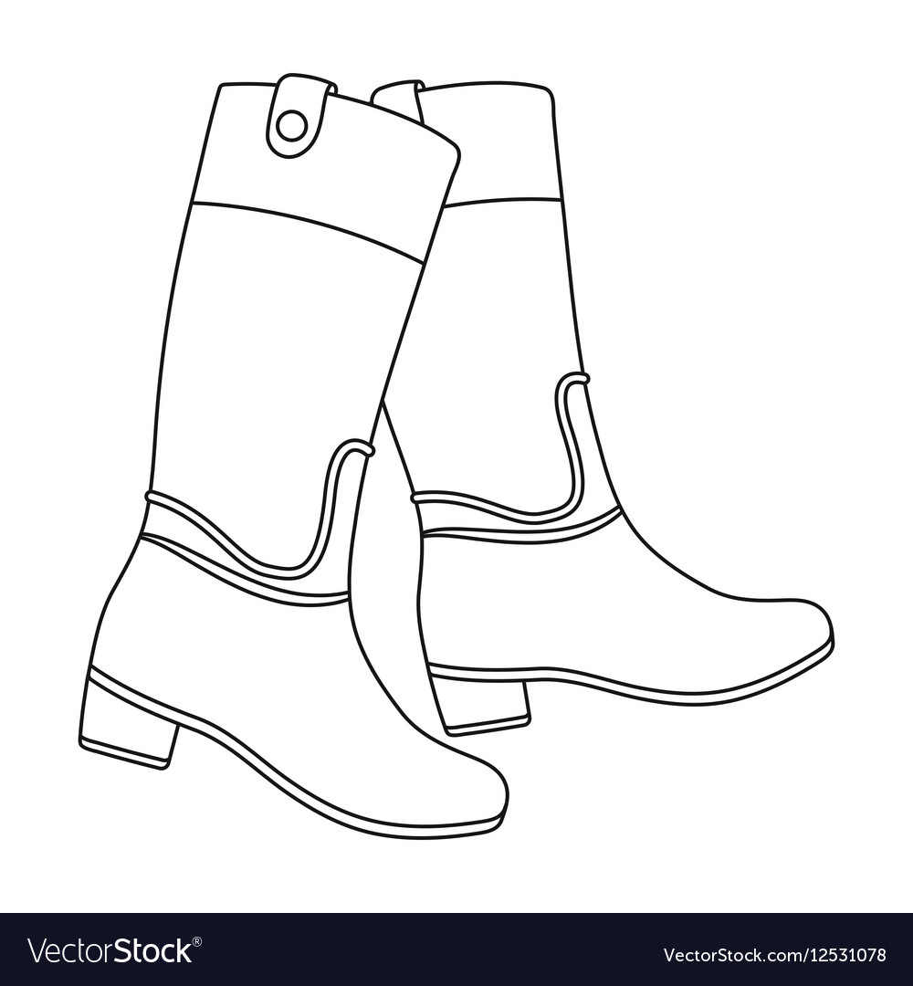 Jockey s high boots icon in outline style isolated