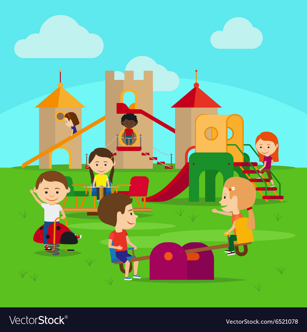 Kids on playground vector image