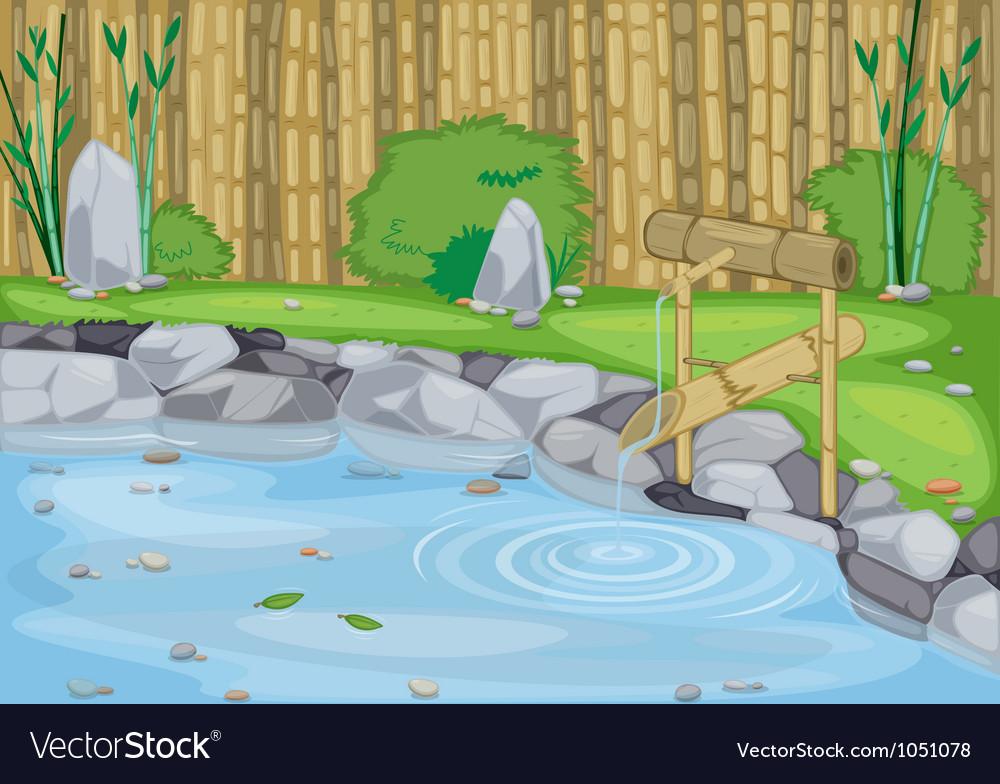 Lake and bamboo wall