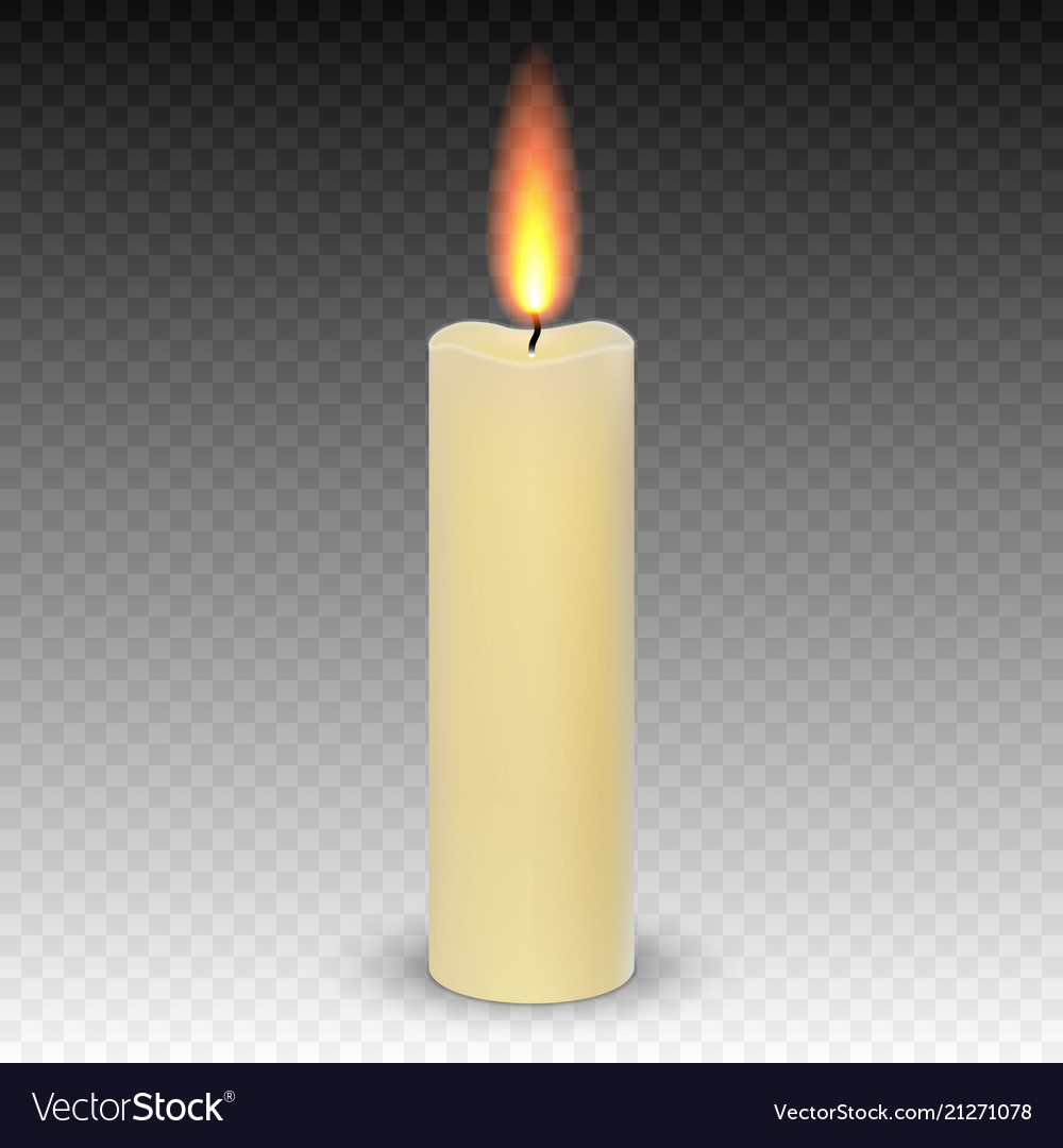 Realistic paraffin burning candles isolated