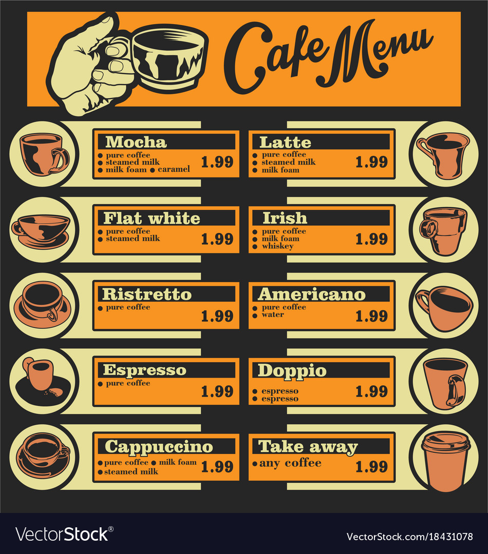Set of coffee menu with a cups of coffee drinks 1