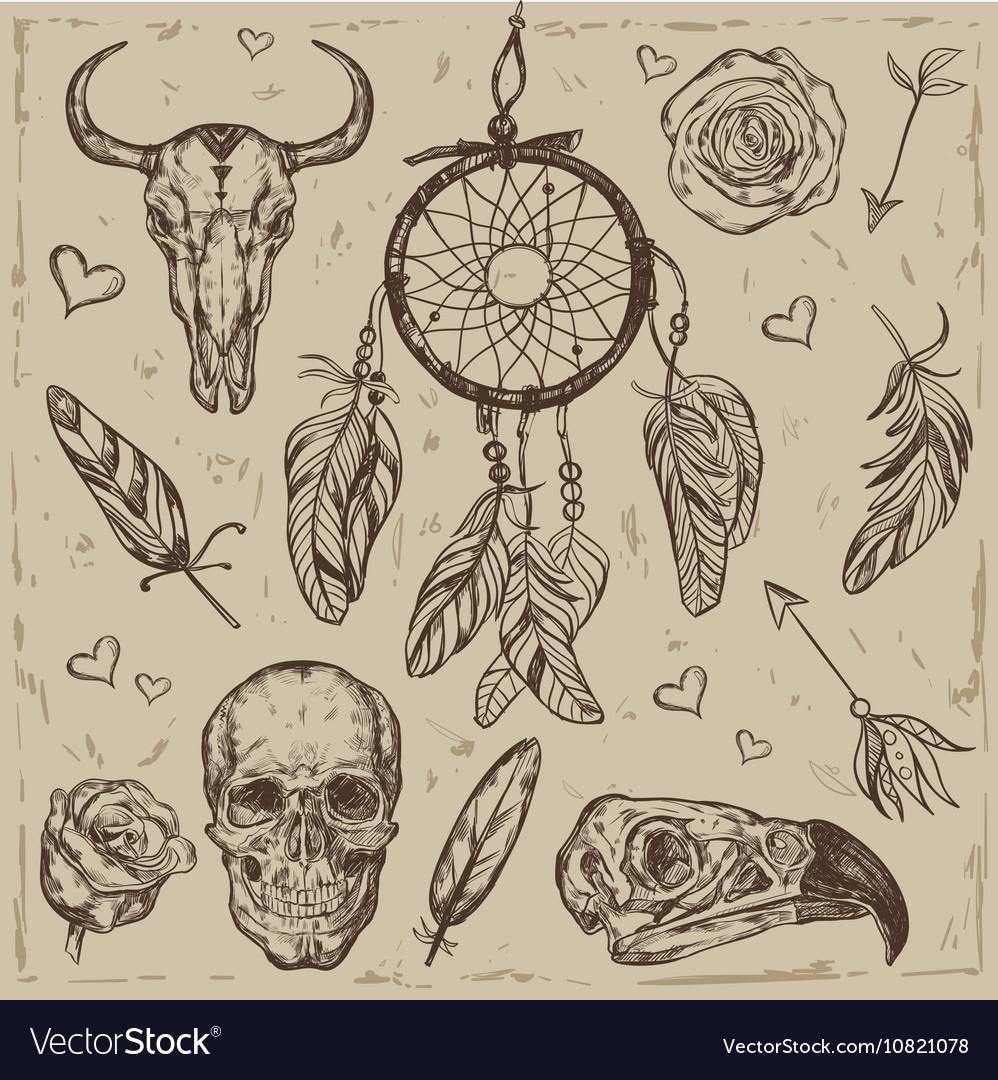 Skull Boho Tattoo Set