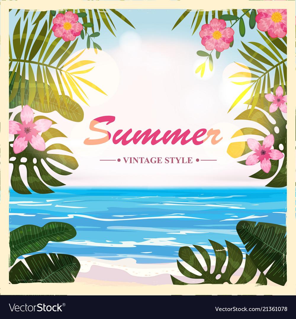 Summer retro poster background flowers
