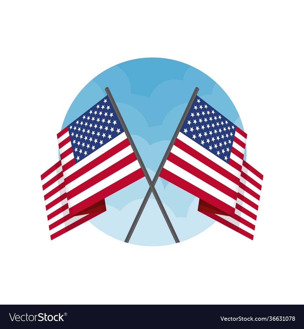 Two crossed american flag