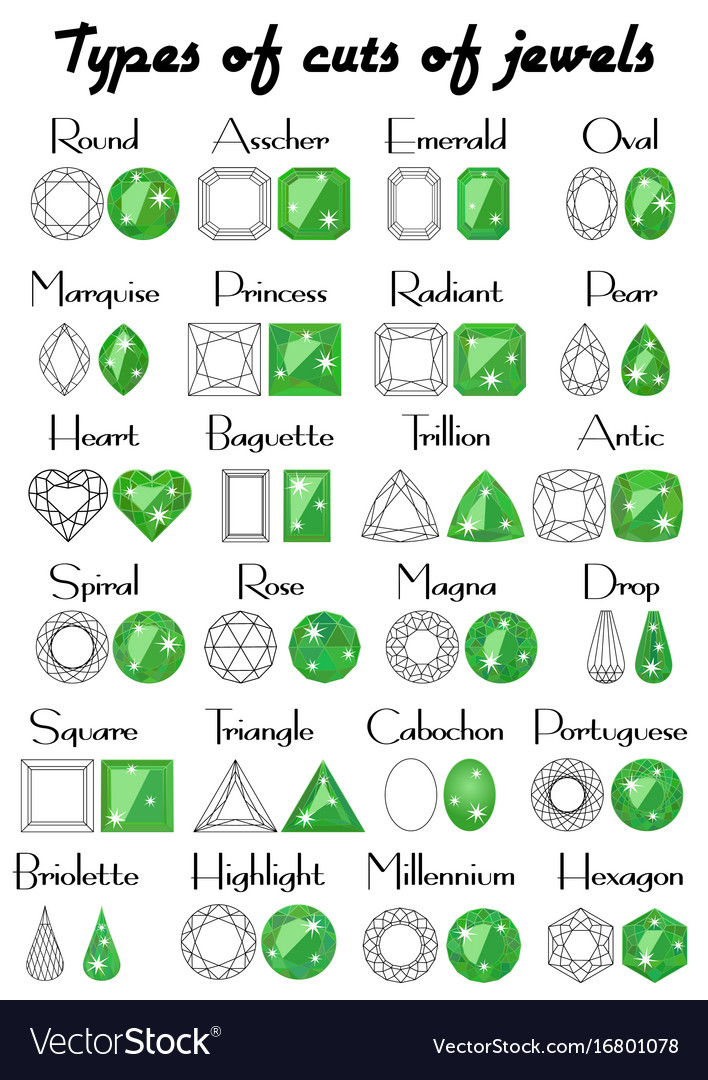 Types of cuts of jewels vector image