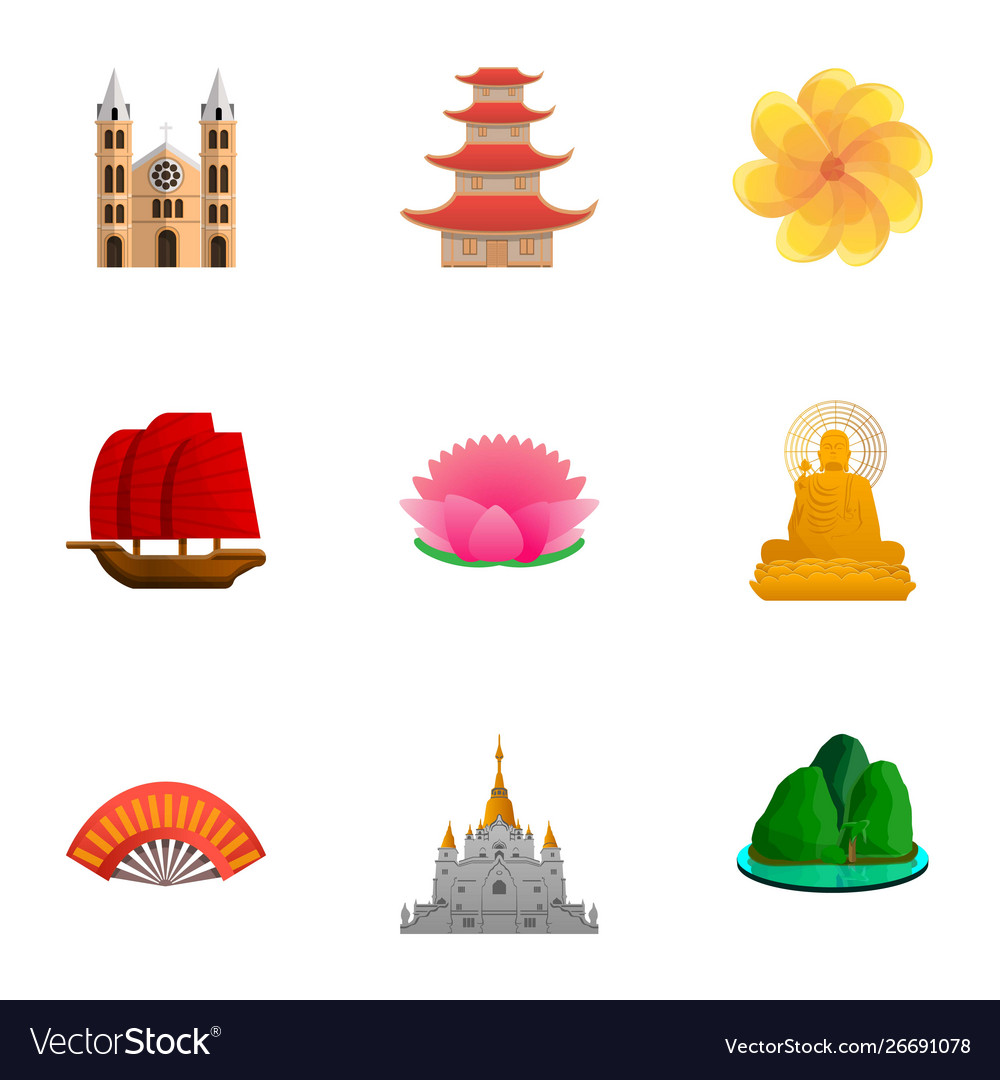 Vietnam Culture Icon Set Cartoon Style Royalty Free Vector