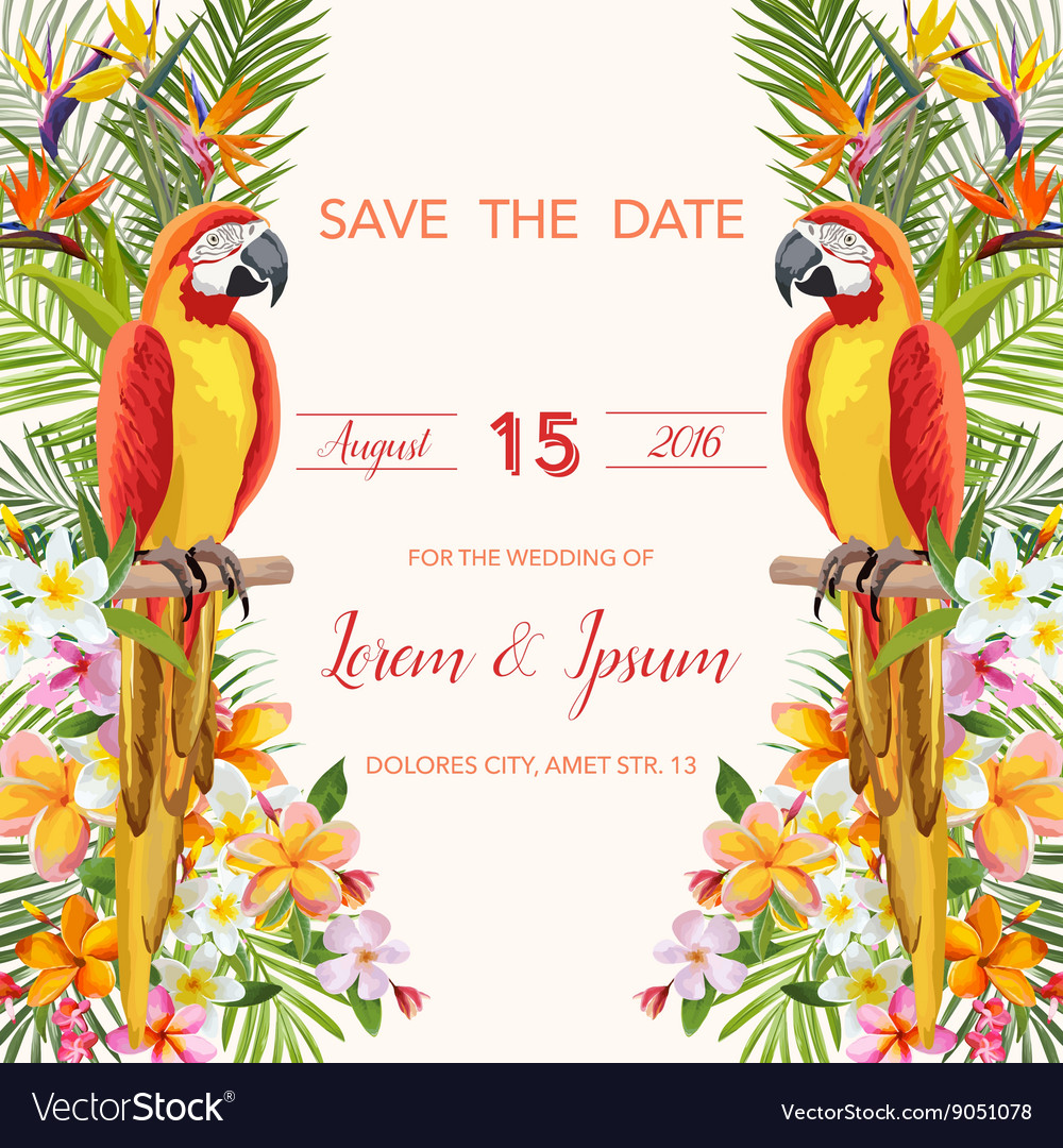 Wedding Card Tropical Flowers Parrot Bird