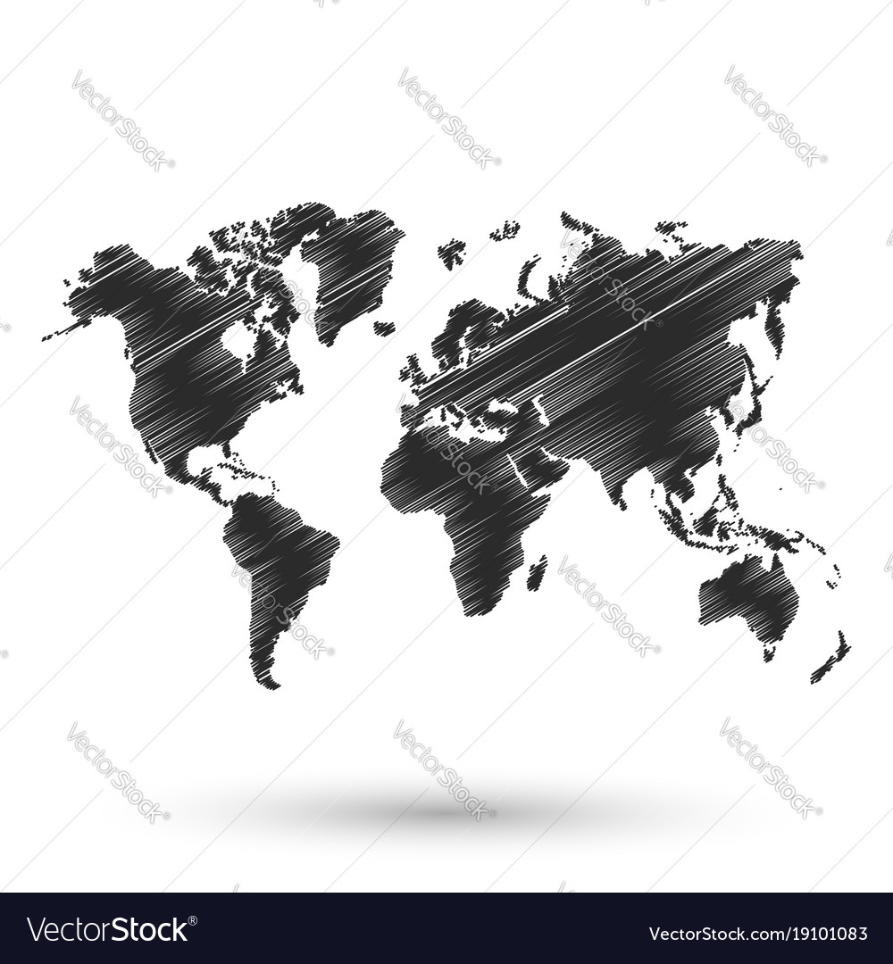 black world map sketch design vector image