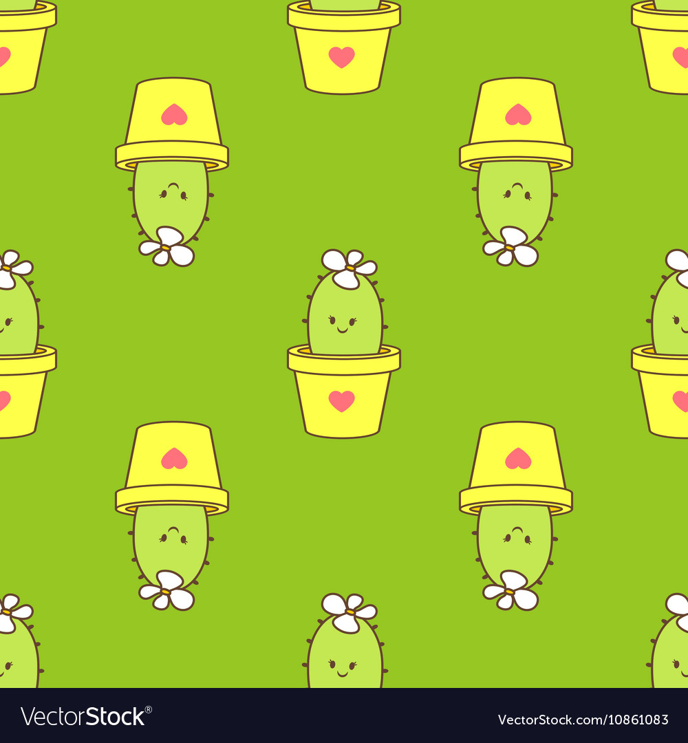 Cactus in a pot seamless pattern