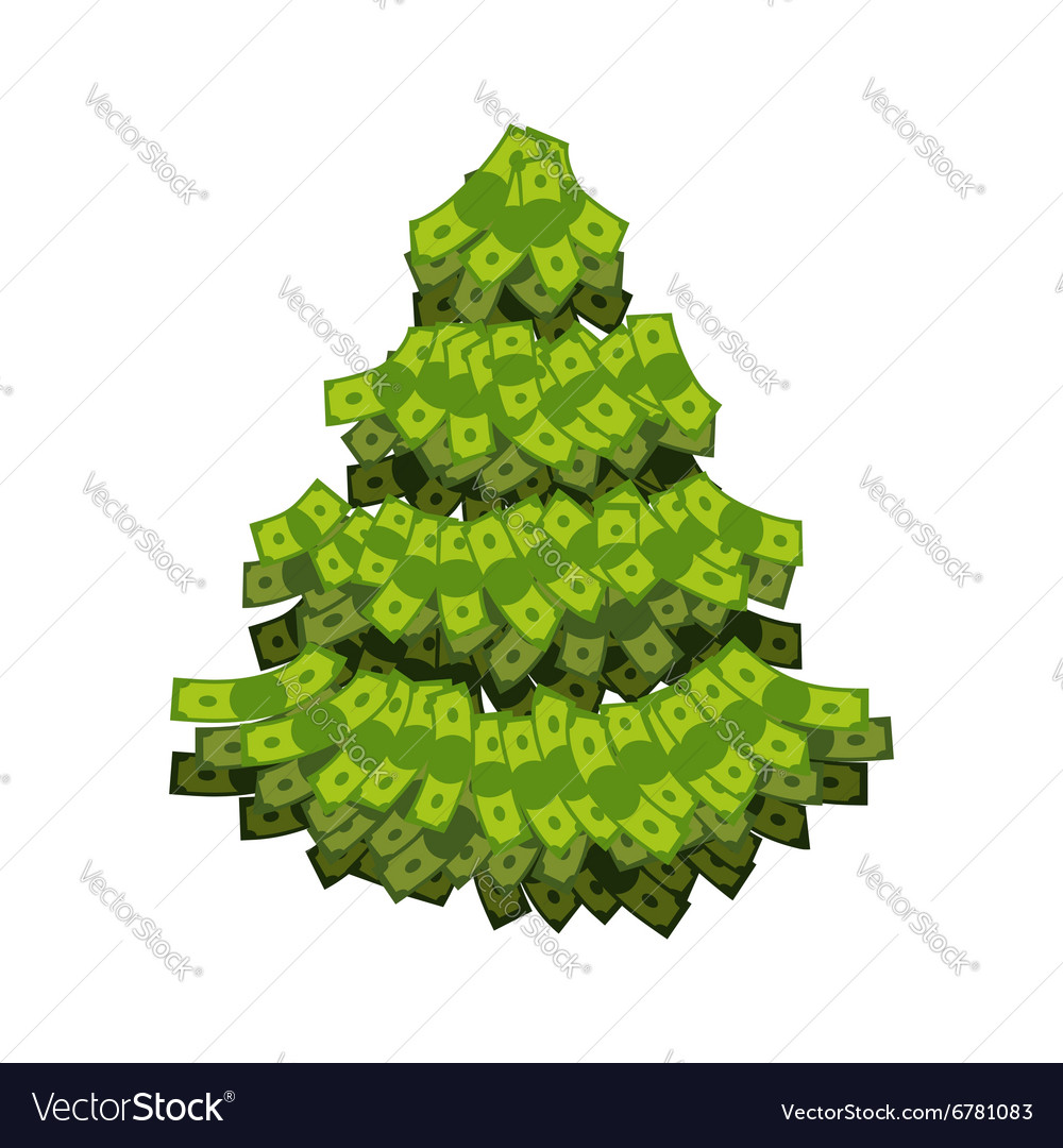 christmas tree from dollar tree out of money vector image - Dollar Tree Christmas Tree