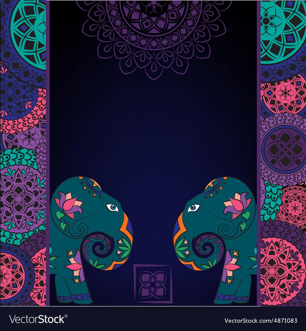 Dark background with elephant and mandalas