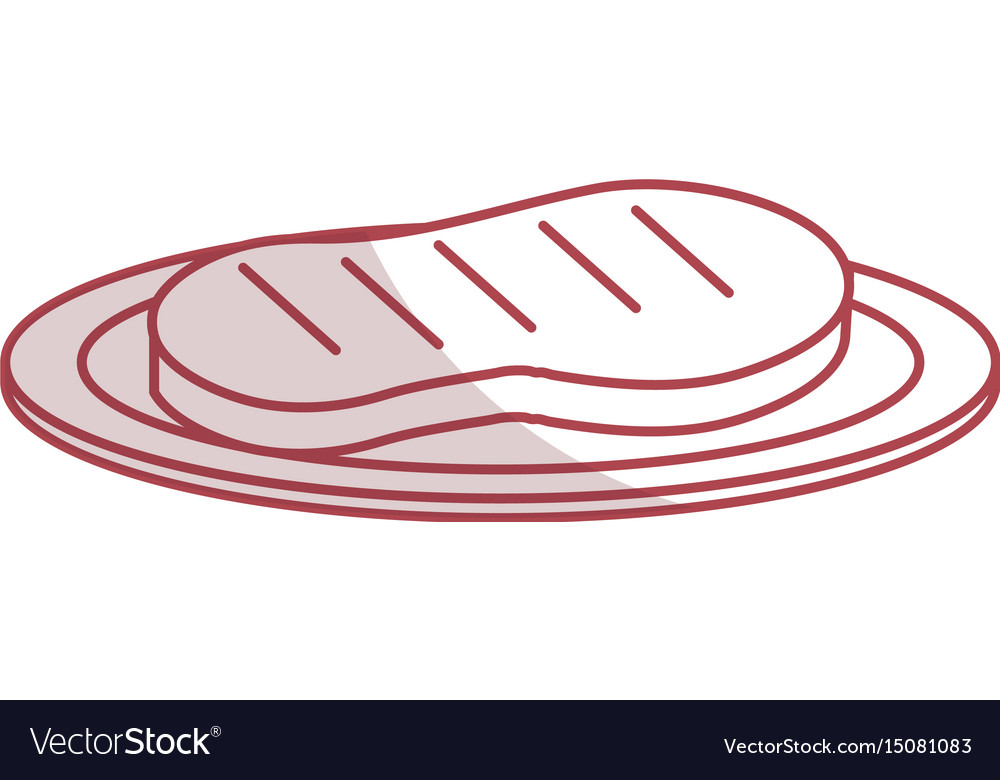 Dish with cut beef meat icon