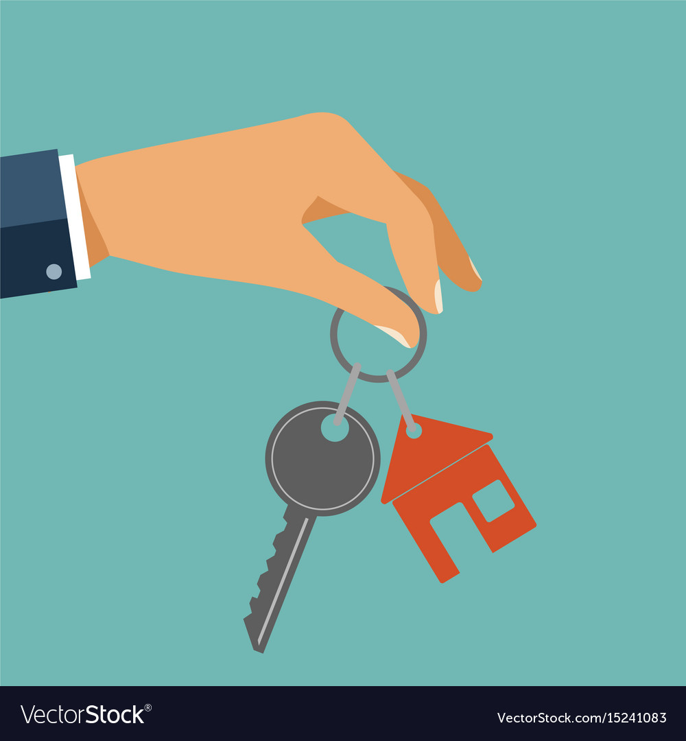 For rent house concept real estate agent holds vector image