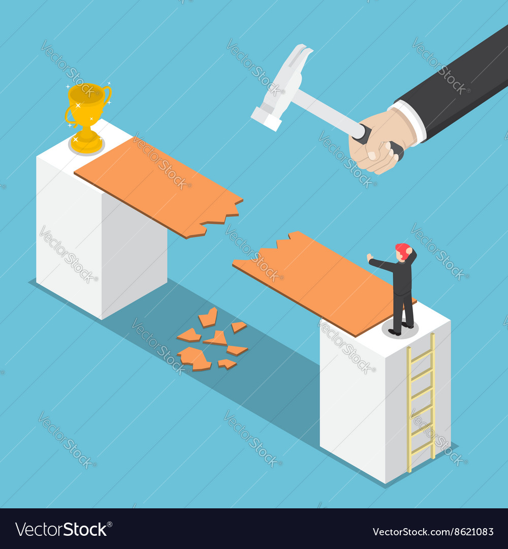 Isometric big hand destroy way to success