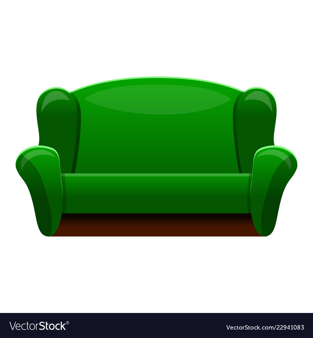 Retro Green Sofa Icon Cartoon Style Royalty Free Vector