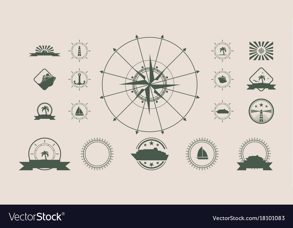 Set of travel emblems and design elements