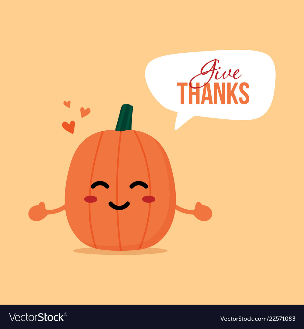 Thanksgiving day card with pumpkin character