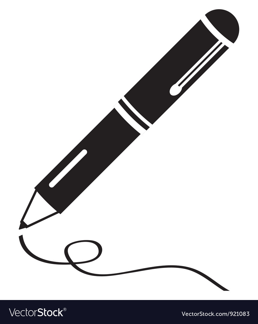 Writing pen clean black icon vector image