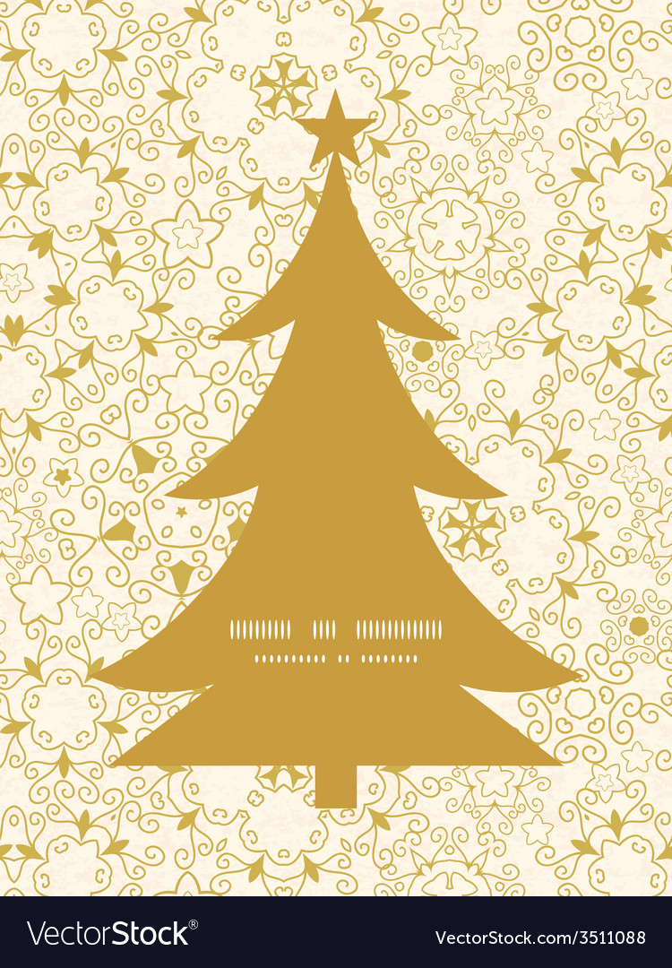 Abstract swirls old paper texture Christmas tree Vector Image