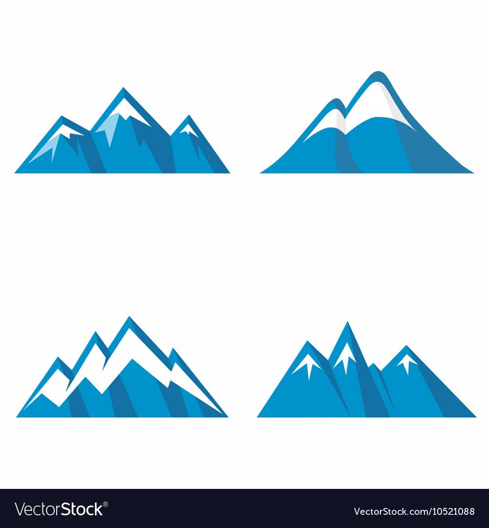 Blue mountain icons on white background