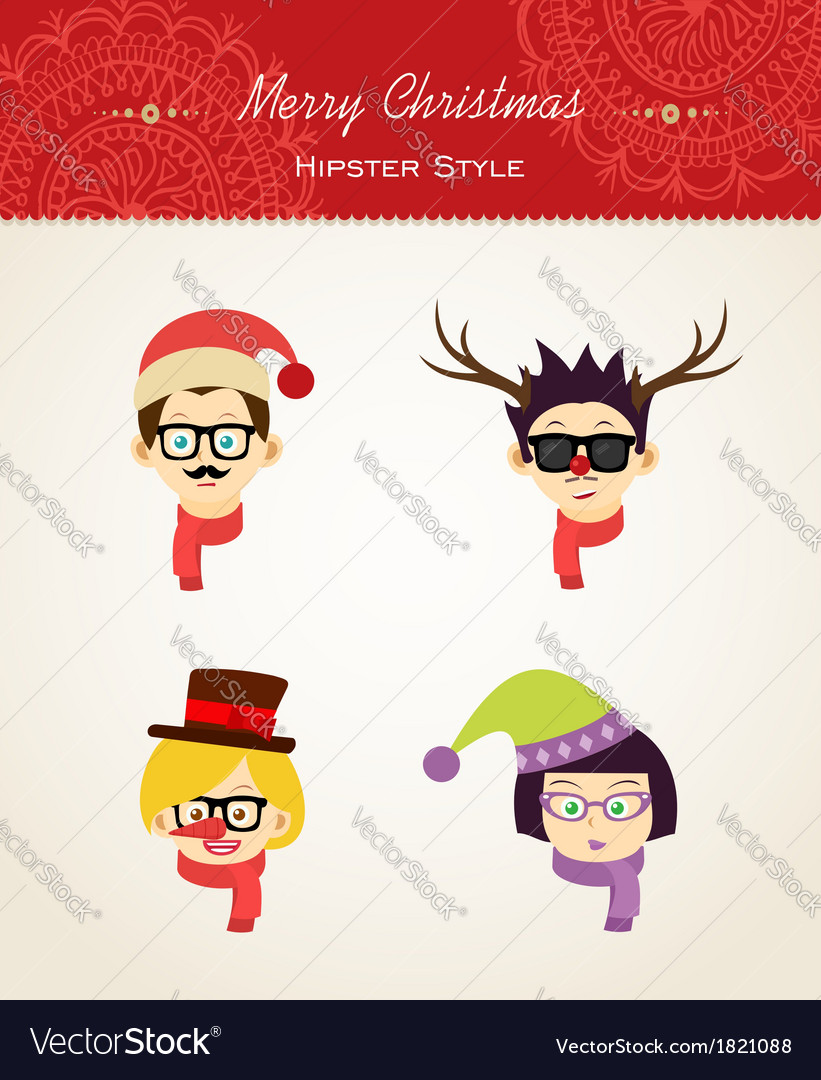 Christmas hipster people vector image