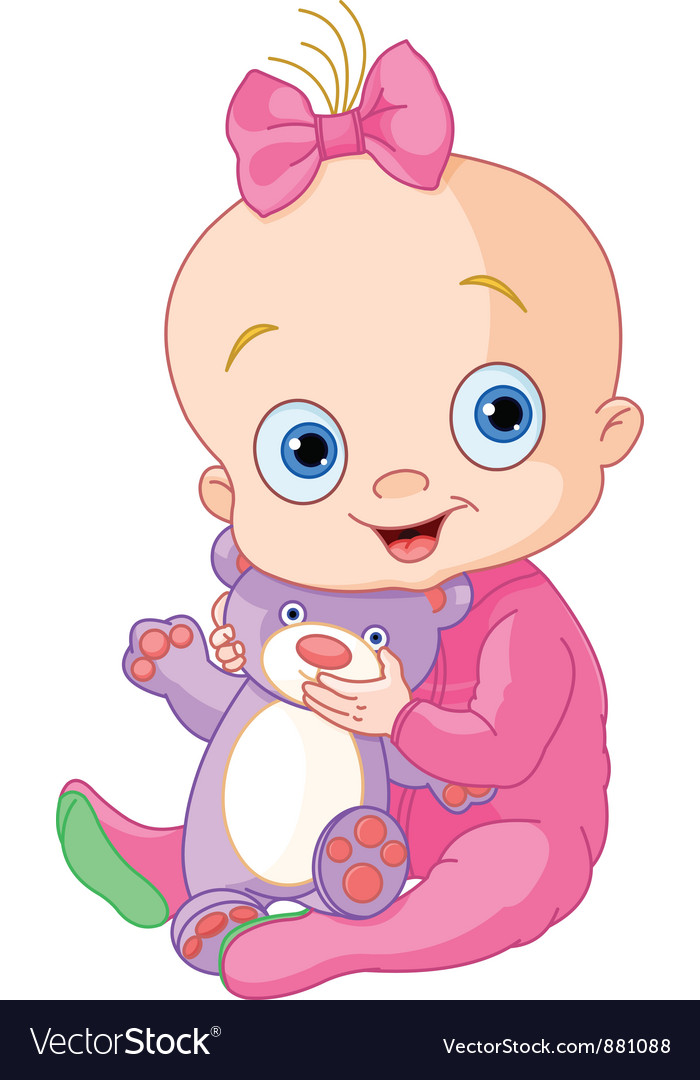 Cute Baby Girl With Teddy Bear Royalty Free Vector Image