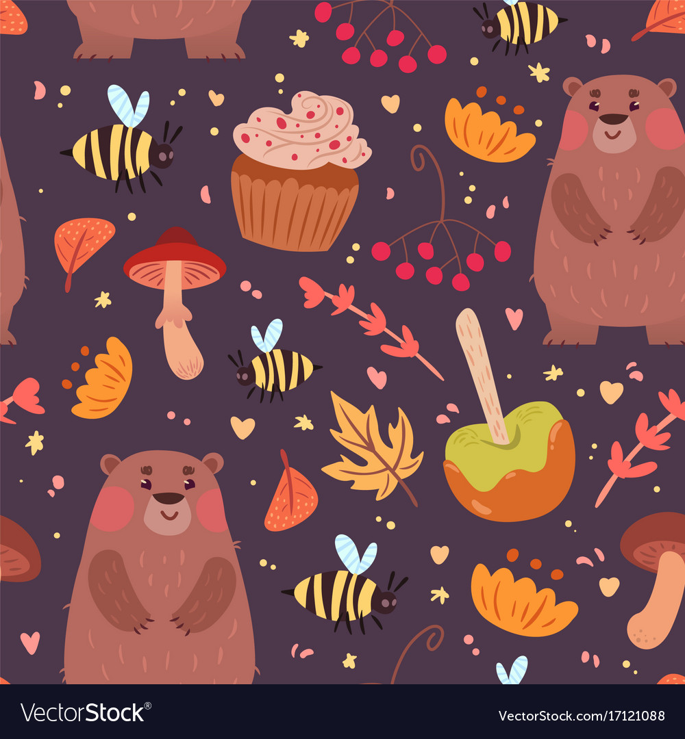 Cute bears and food pattern