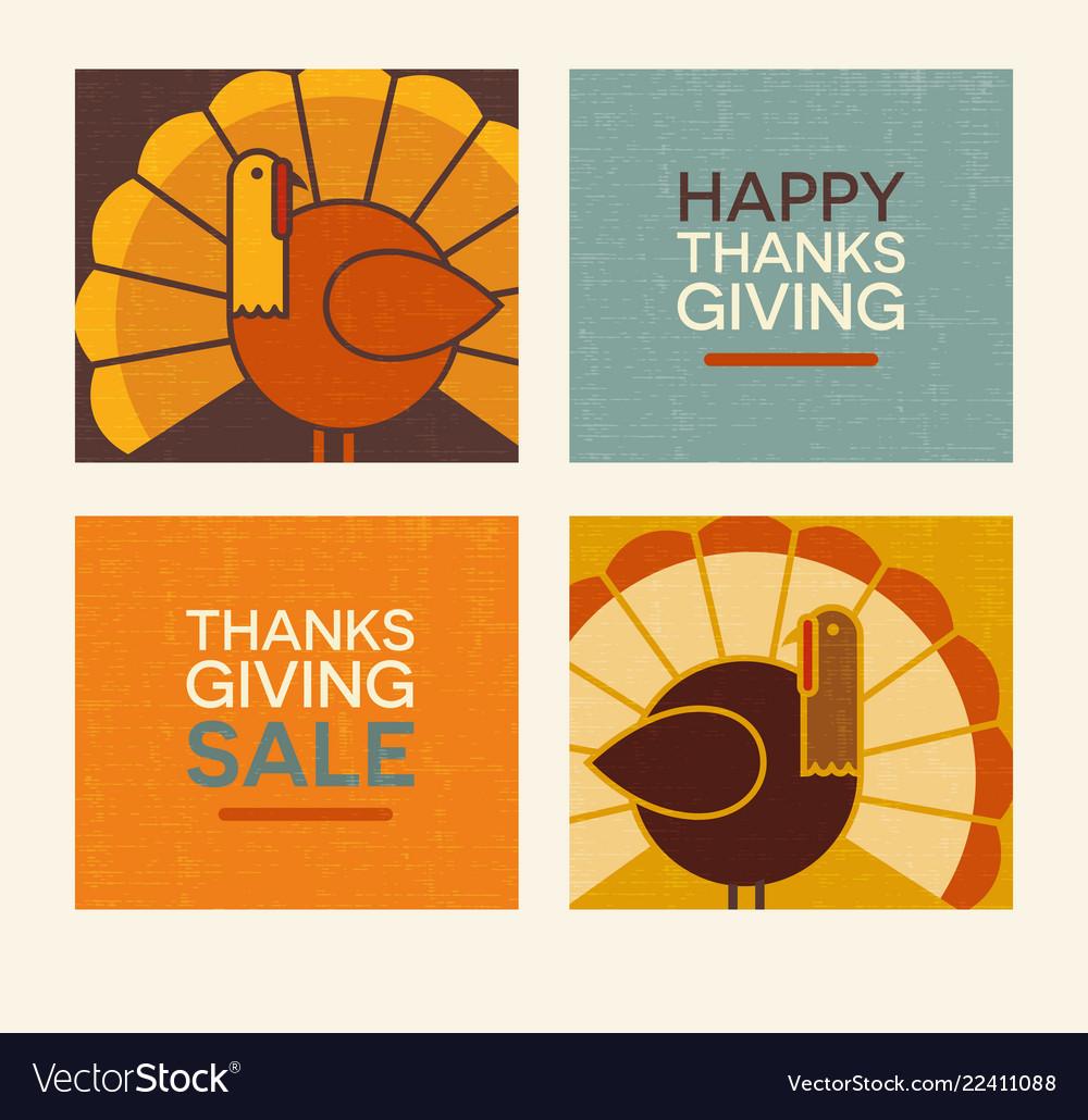 Happy thanksgiving modern turkeys and text set