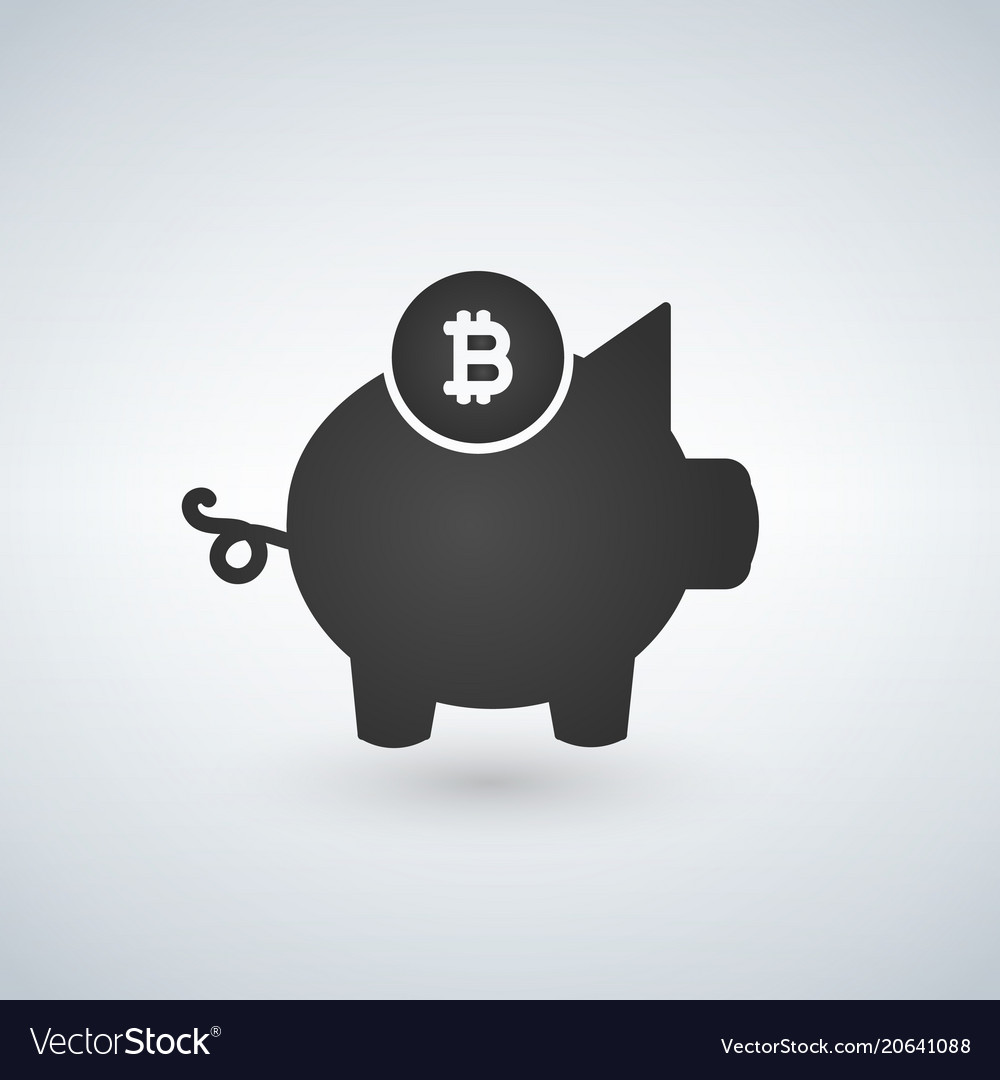 Piggy bank bitcoin icon crypto currency saved