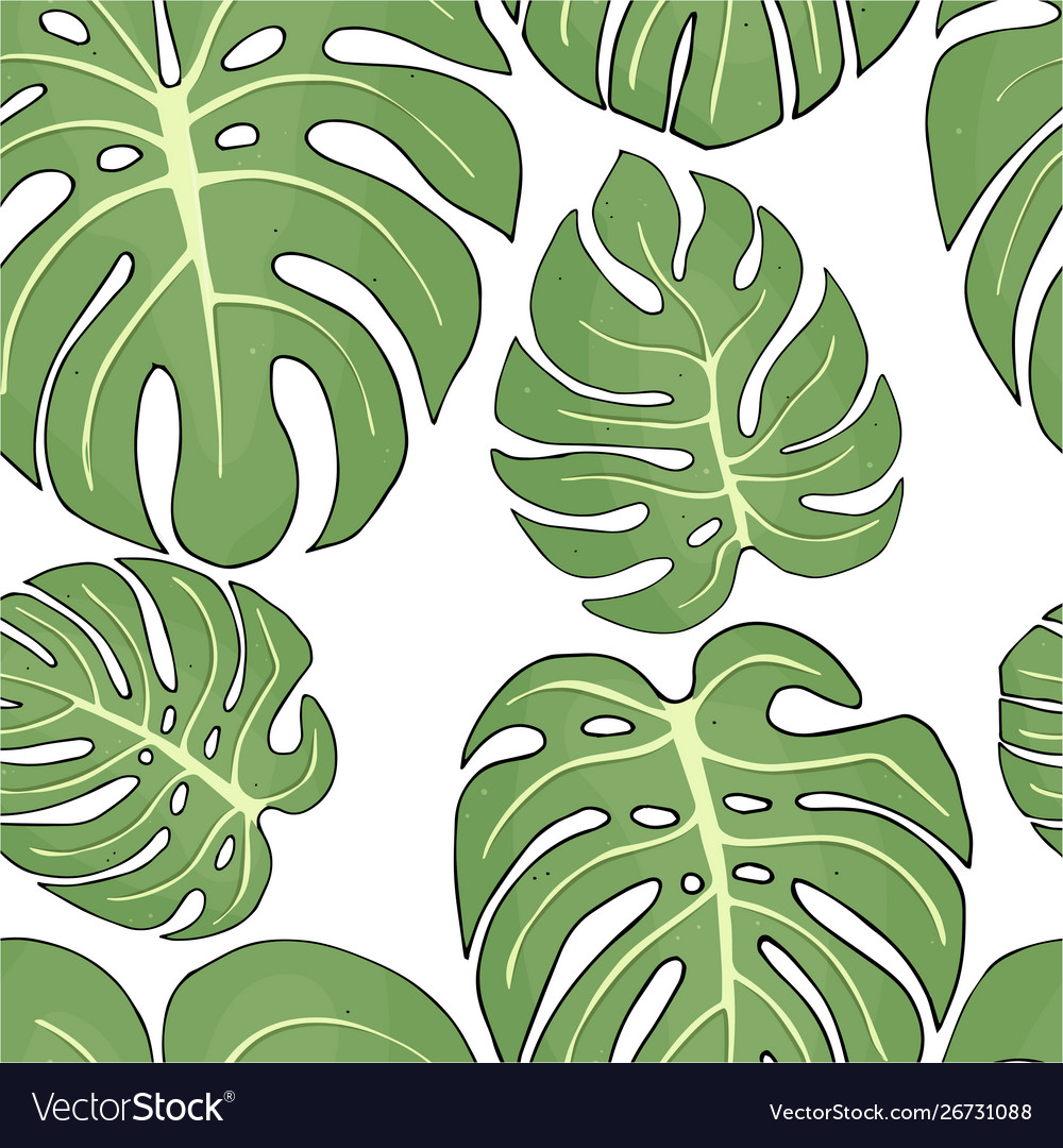 Seamless pattern with tropical monstera leaves on