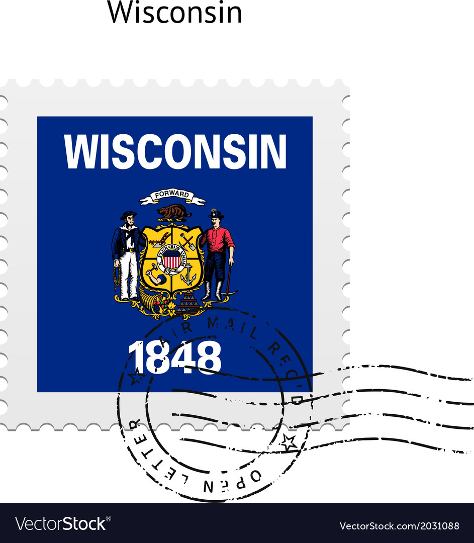 State Of Wisconsin Flag Postage Stamp Vector Image
