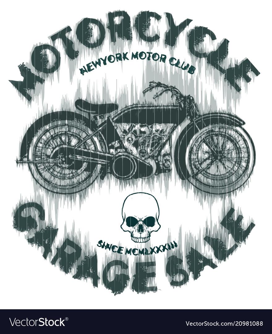 Tee vintage motorbike race hand drawing t-shirt