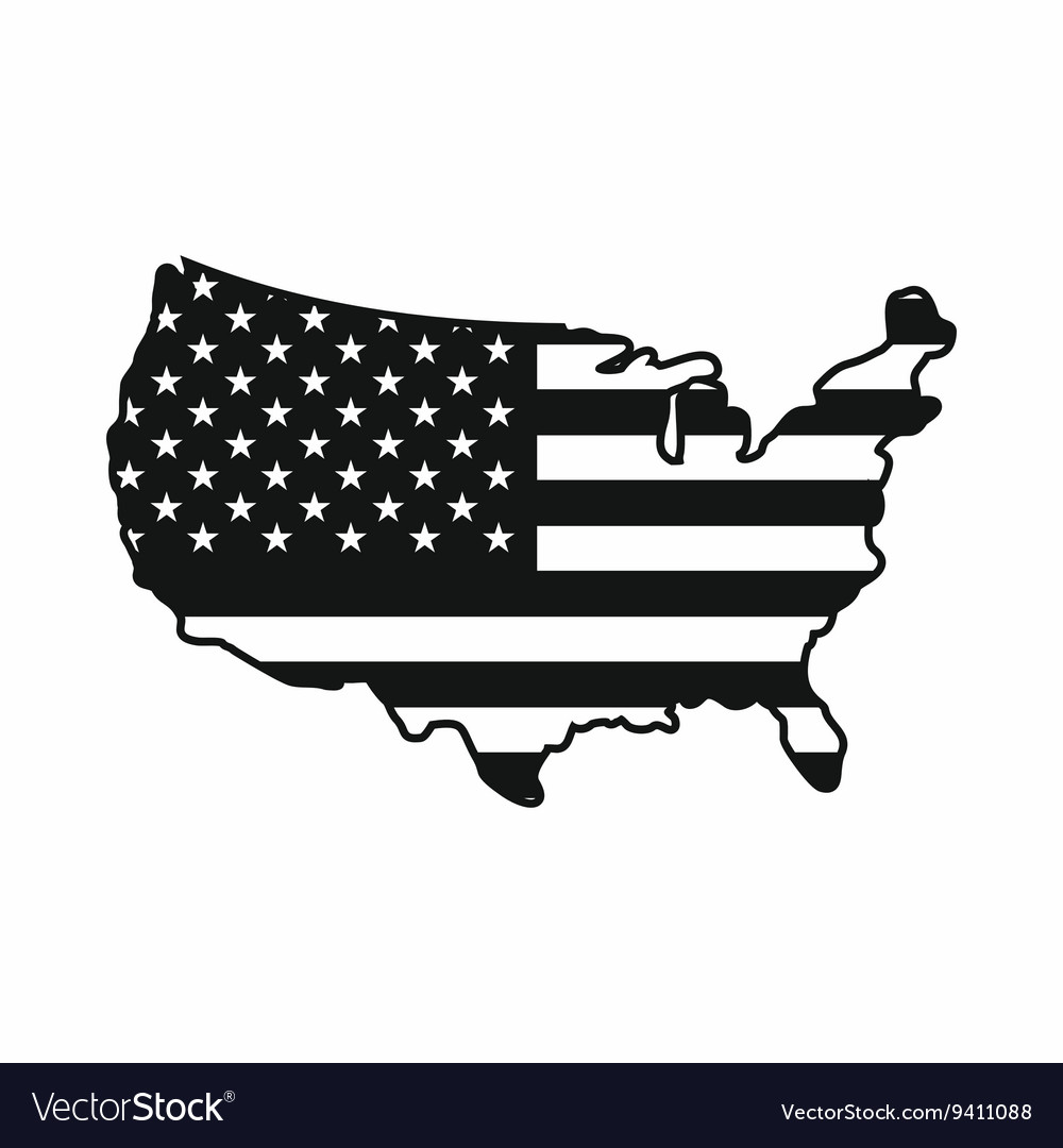 USA map icon simple style