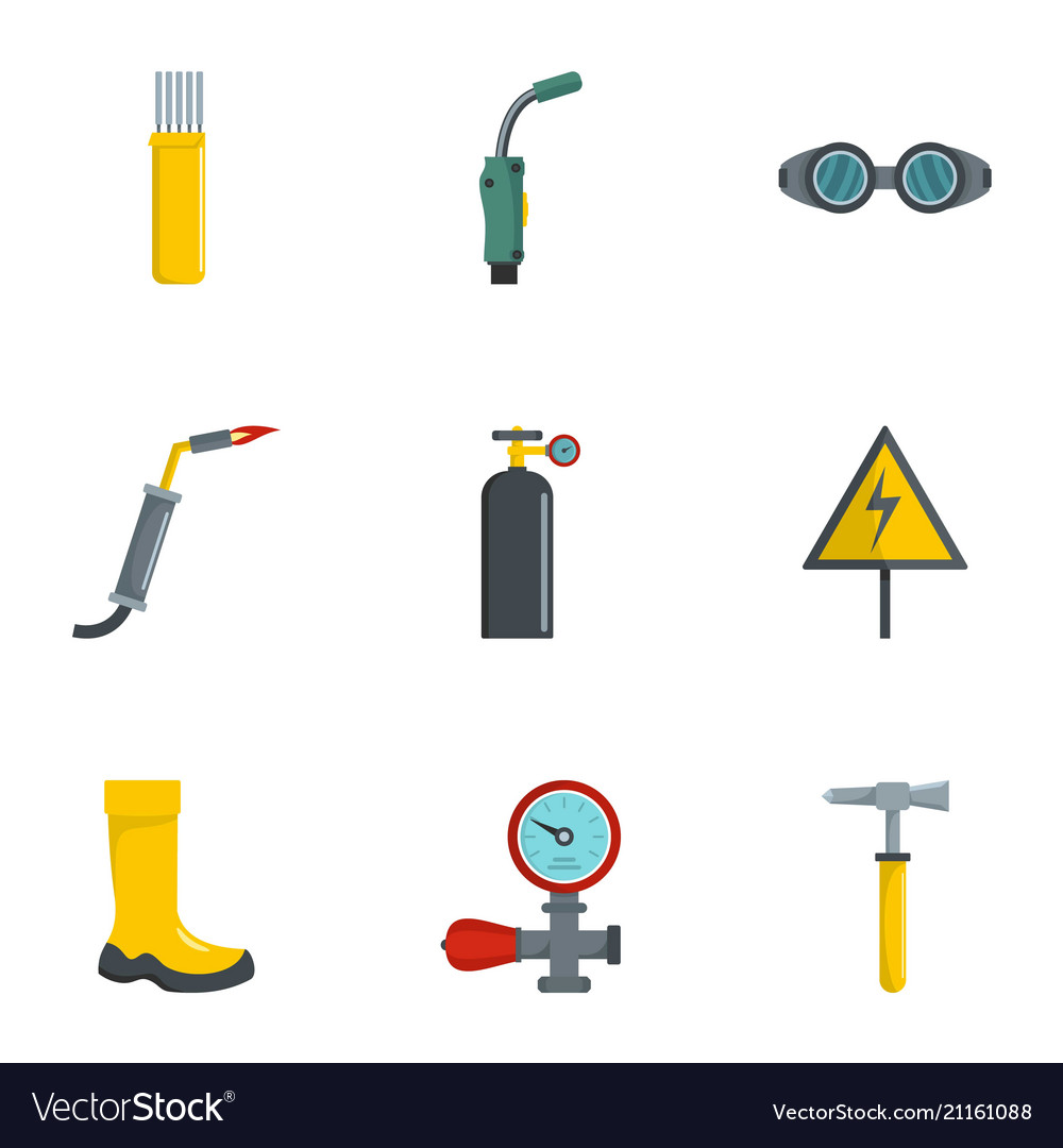 Welding Tool Icons Set Cartoon Style Royalty Free Vector