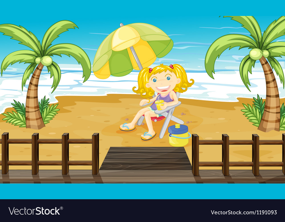 a young girl relaxing at the beach royalty free vector image
