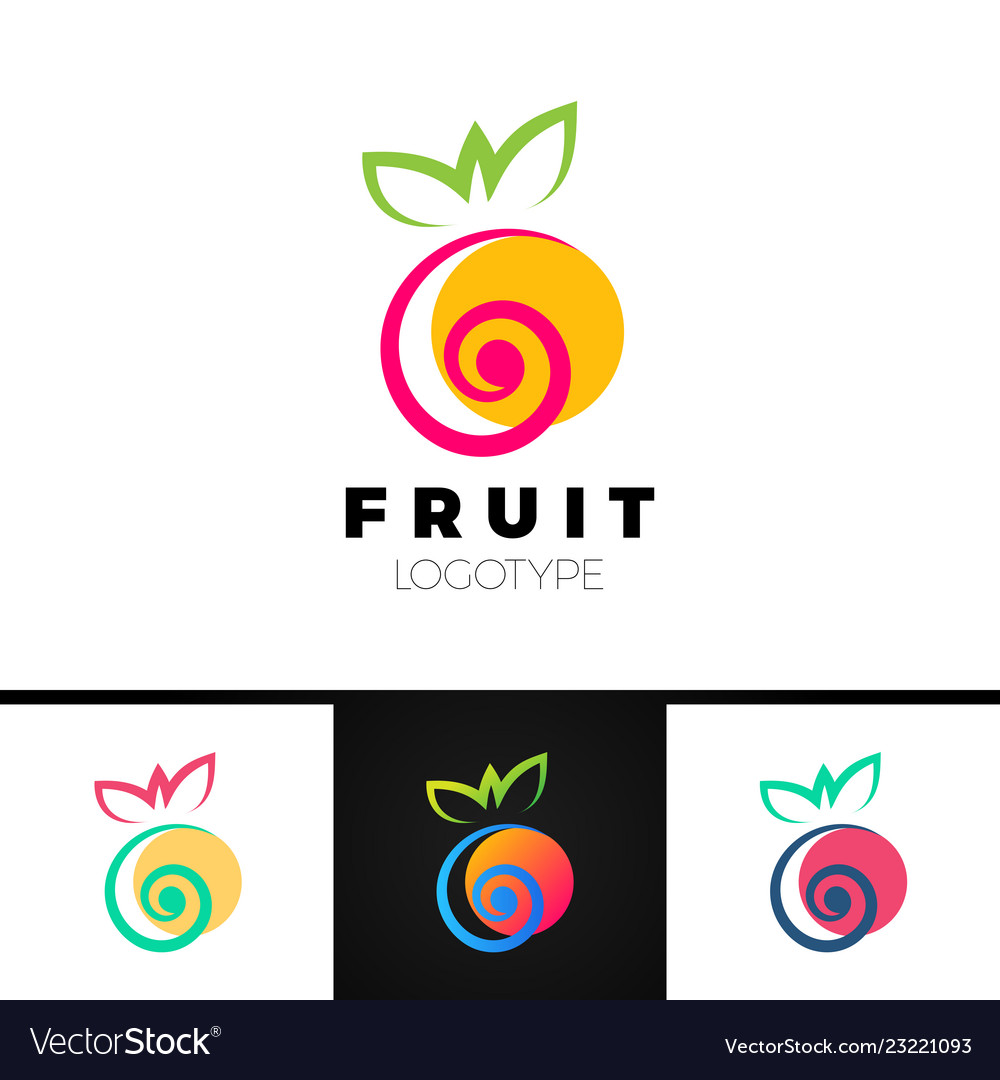Abstract fruit logo template with spiral element