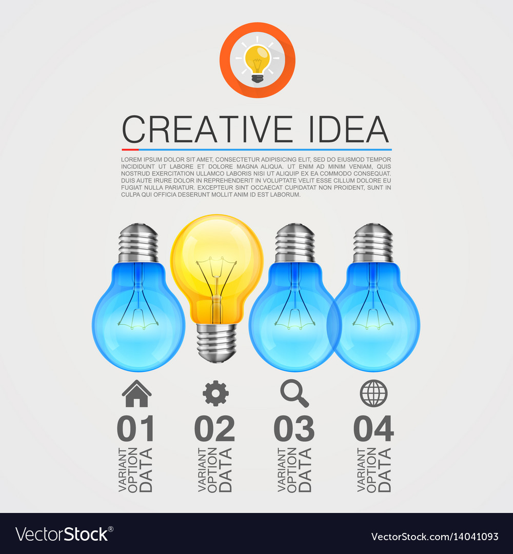 Creative idea idea lamp light white background