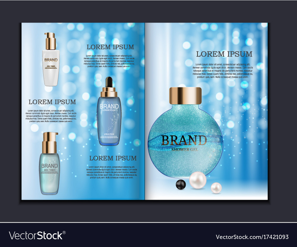 Design Cosmetics Product Brochure Template For Ad Vector Image - Product ad template