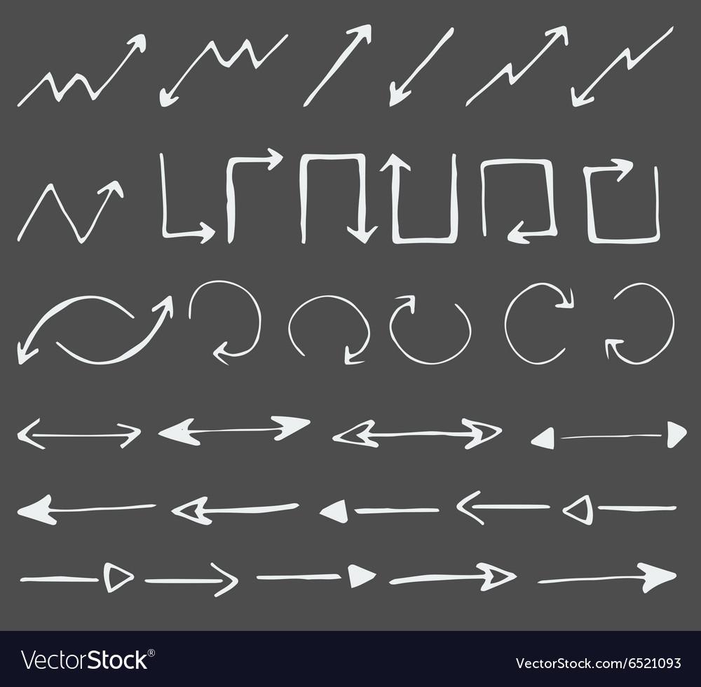 Hand drawn arrows icons set