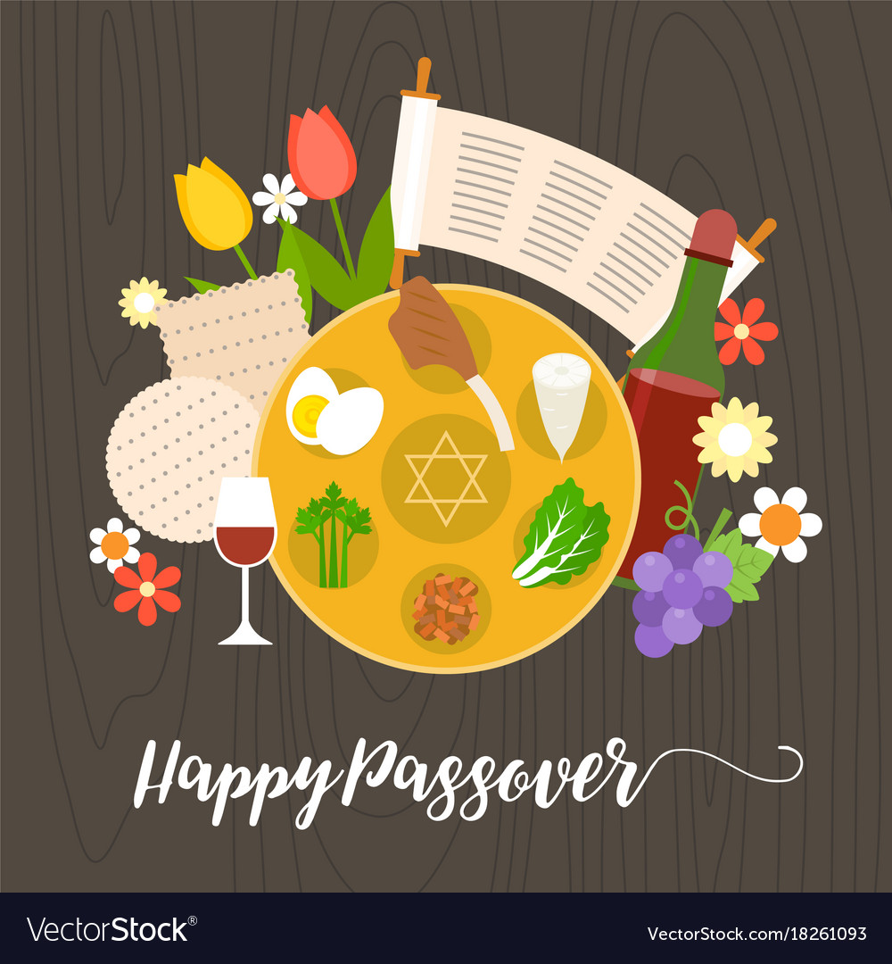 happy passover with seder plate royalty free vector image