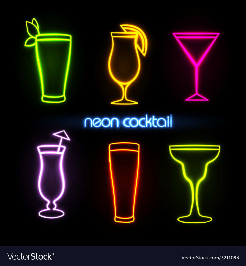 Neon sign Cocktail Royalty Free Vector Image - VectorStock