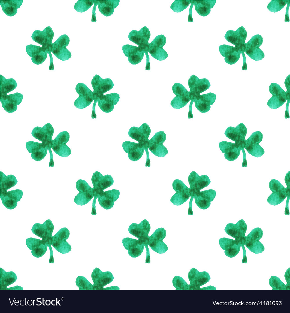 Seamless watercolor pattern with clover leaves on