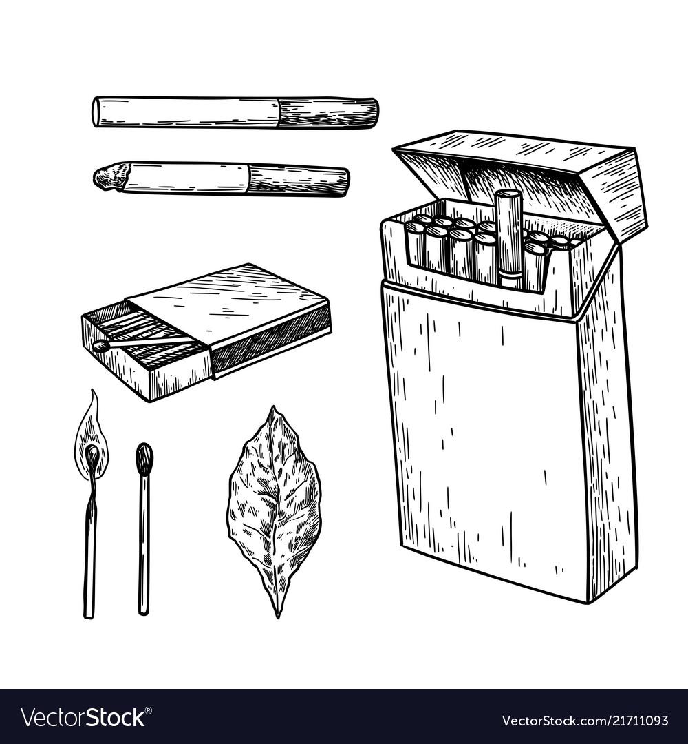 Tobbaco smoking drawing set cigarette pack
