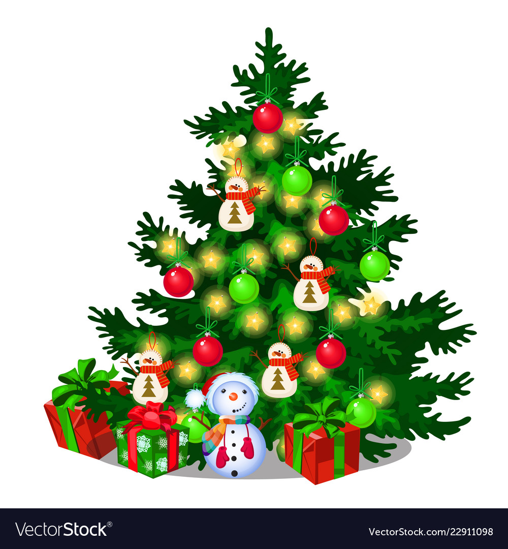 Christmas tree with decorations gift boxes